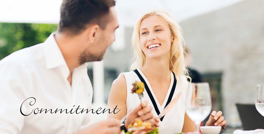 couple enjoying a meal Woodside-Aiken Realty real estate agency Aiken SC