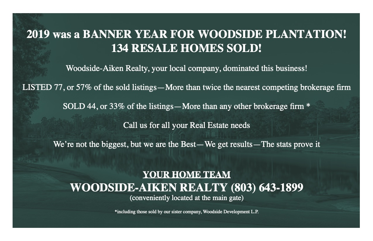 Woodside-Aiken Realty 2019 Results postcard Aiken SC real estate agents